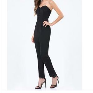 Adelyn Rae black strapless jumpsuit